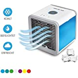 Mediashop Arctic Air Evaporation Device Air Freshener Mobile Air Cooler with USB Connection or Power Plug Hydro Chill Technology 3 Cooling Levels 7 Mood Lights