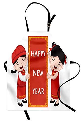 ABAKUHAUS Chinesisches Neujahr Kochschürze, Nette asiatische Kinder in den traditionellen Kostümen, die EIN Feier-Zeichen halten, Höhenverstellbar Maschienenwaschbar Kein verblassen, Mehrfarbig