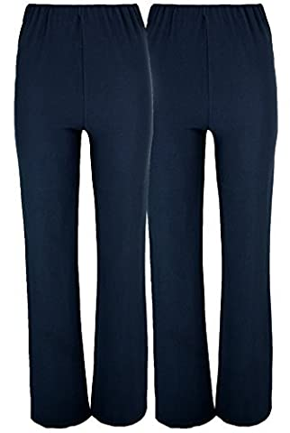 LADIES (2 PAIRS PACK) NURSE WORK CARER STRETCH ELASTICATED BOOTLEG TROUSERS 3 COLOURS (SIZES 8-26) (18, NAVY)