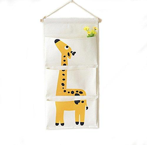 3-Taschen Wand Organizer Organisator platzsparend hängend Regal Aufbewahrungstasche für Kinderzimmer, Kindergarten (Giraffen) (Hängende Wand Regale)