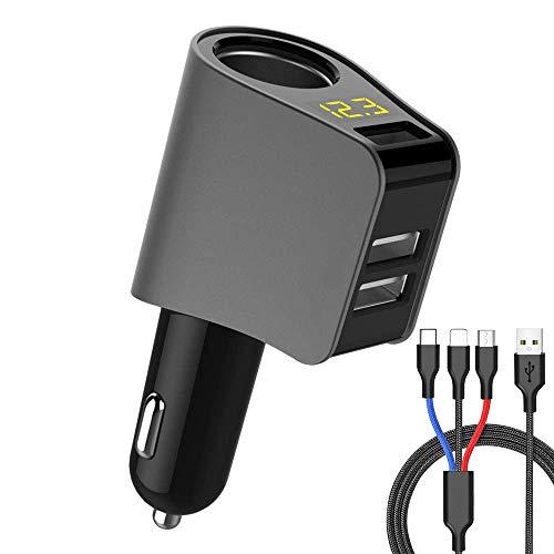 ZDZHU USB Auto Ladegerät Adapter 80W, Zigarettenanzünder Splitter Digital Spannungsprüfer DC 5V / 2.1A Für iPhone/Samsung/HTC / MP3 Player etc,A Gps-adapter Home Wand -