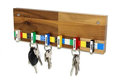 Schlüsselbrett PLAY 202 Holz | Für die ganze Familie | Schlüsselleiste Nussbaum mit 6 Schlüsselanhängern zum selbst beschriften | inkl. Schrauben und Dübel | Farbe wählbar