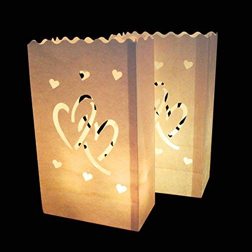 r Lichtertüte Luminaria Papier Laterne Kerze Tasche für Weihnachten Party Hochzeit Dekoration Glow in Dark Double Heart (Kleine Papier-laternen)
