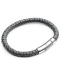 Tribal Steel T894Lederarmband für Herren, einfach und klassisch mit polierter Schließe, 21cm, Grau