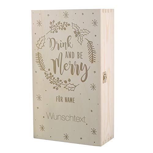 Herz & Heim® Geschenkverpackung Weinflasche zu Weihnachten als Holzkiste mit persönlichen Aufdruck/Gravur – Verschiedene Motive zur Auswahl