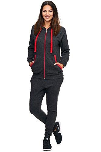 Damen Jogging-Anzug | Uni 704 (XXL-fällt groß aus, Anthrazit-Rot)