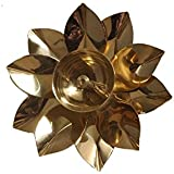 Nutristar Lotus Shape Diya, Kuber Diyas for Puja, Brass Oil Lamp 5 Inches in Diameter
