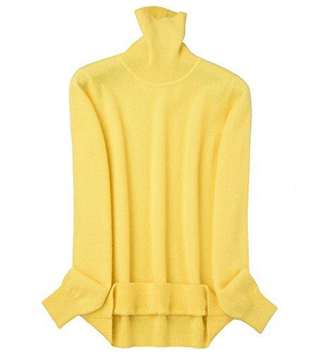 zhili Frauen Kaschmir Slouchy Turtleneck Pullover XL Gelb (Kaschmir-pullover Gelb)