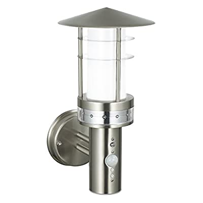 Saxby Pagoda 9.2W Brushed Stainless Steel PIR Outdoor Garden Motion Sensor LED Wall Light - inexpensive UK light shop.