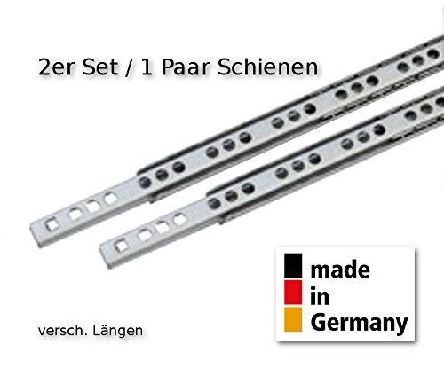 2 Stück (1 Satz) Schubladenschienen Teilauszug Rollenauszug Teleskopschiene Kugelführung L 310 mm Nut 17x10mm - LIVINDO