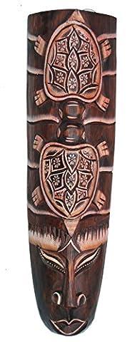Wandmaske mit Schildkröten Motiv in 50cm zum Aufhängen Asien Dekoration Holzmaske Motivmaske Tiki