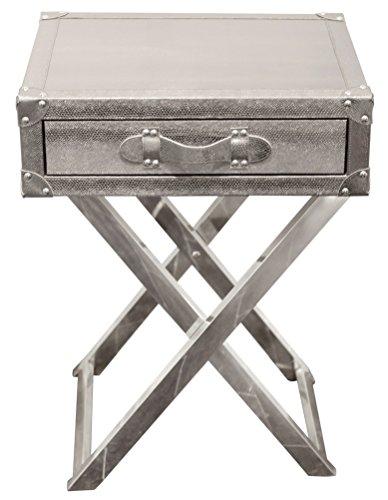 Empire Art Direct Silver Lizard Leather Side Table Wandschmuck, Holz, Faux Skin, 20 in. x 16 in. x 26 in -