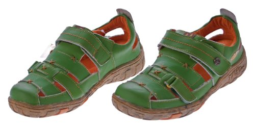 Damen Echt Leder Sandalen Klettverschluss Halbschuhe Leder Schuhe TMA 1667 Sandaletten Grün
