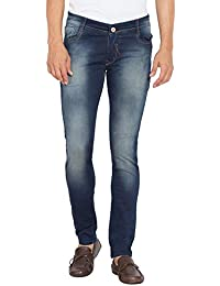 Flying Port Men's Cotton Lycra Sapce Blue Slim Fit Casual Jeans