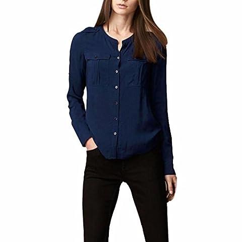 Malloom 2017 Femmes Bureau solide Manche longue Support de bouton Cardigan T-shirt Blouse Tops (M, Bleu)