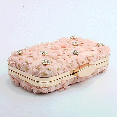 Heart&M Donna Borsa da sera Poliestere Per tutte le stagioni Matrimonio Serata evento Casual Formale Con diamantini Con applique Floreale A scatto , blushing pink White