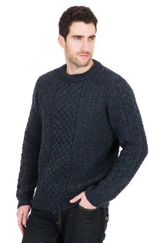 Johnson- Denim. Mens Aran Wool Jumper Sweater (MEDIUM)