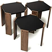 Hansel Nested Coffee Table Set of Three for Living Room Home Office Contemporary Stacking End Side Table Leisu