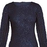 YEBIRAL Damen Kleider Exquisite Voller Pailletten Fringe Langarm Mode Design Abendkleider Elegante Cocktailkleider Freizeit Minikleid Kleidung Karneval(Medium,Schwarz)