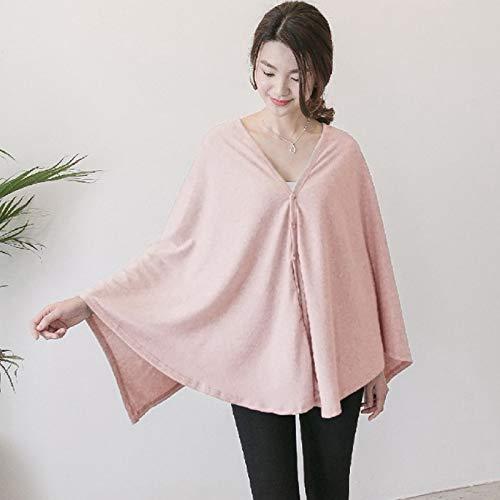 Klaury Couverture d'allaitement Multiusages pour l'allaitement écharpe/Châle/Bébé Couverture Coton Respirant avec Bouton Réglable,Pink