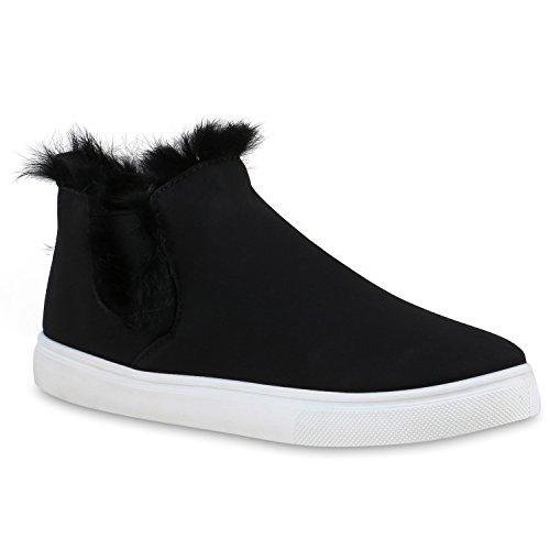 Damen Stiefeletten Outdoor Boots Kunstfell Stiefel Schuhe 127879 Schwarz Fell 39 | Flandell