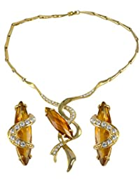 Silvestoo India Citrine Quartz & Cubic Zircon Gemstone Gold Plated Necklace & Earring Set For Women & Girls PG...