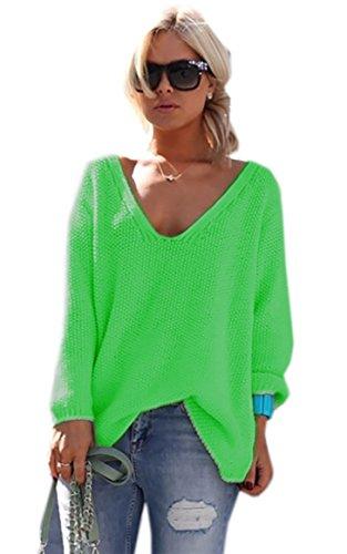 *Mikos* Damen Pullover Hoodie Sweatshirt Warm Lange Ärmel Casual Sleeve Pullover Jacke Slim Mantel Tops (617) (Neon Grün)