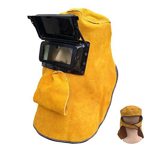 Elektrische automatische Dimmung Head Mounted Argon Lichtbogen Schweißen Anti-Glare Schweißen Arbeit Versicherung Schweißer schützende Rindsleder Maske (3m Anti-glare Filter)