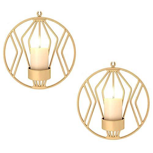 Schmiedeeiserne Wanddekoration, Stereometrischer Kerzenleuchter, Beleuchtung Dekoration für Wohnzimmer/Esszimmer/Bar, Gold×2 -
