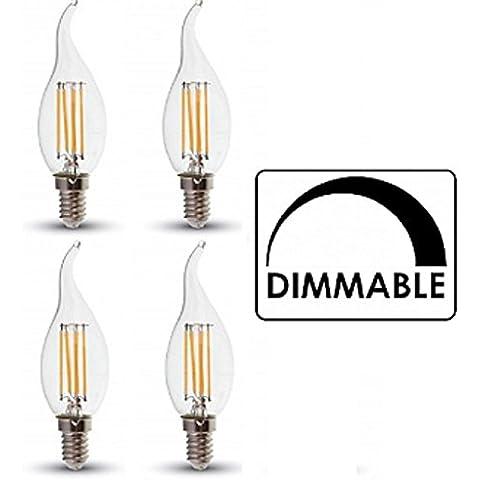 Vela de filamentos led de intensidad regulable bombillas–Pack de 4–Acabado de punta–Flame E14/Ses–4W–Blanco cálido