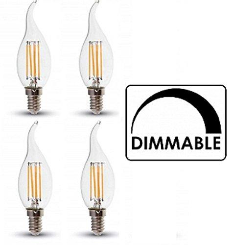 LED Dimmerabile Lampadine Candela Filamento Confezione Da 4 Colore Fiamma Finitura E14 4W 2700K
