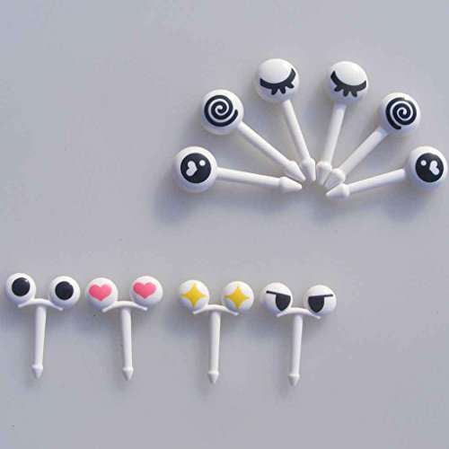 (Junecat 10pcs / Set Mini-Augen-Cartoon Ausdruck Obst Gabel Plastikfrucht Zahnstocher für Kinder)