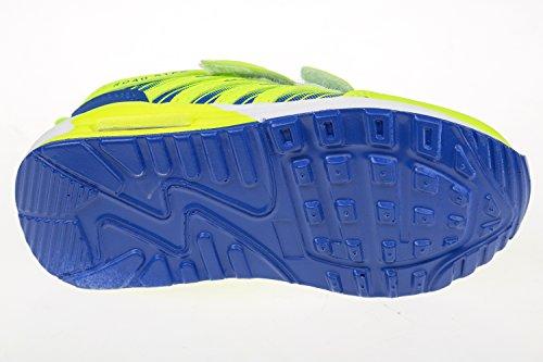 GIBRA® Chaussures de sport pour enfants avec fermeture velcro, Jaune fluo/bleu Taille 25-35 Jaune - neongelb/blau