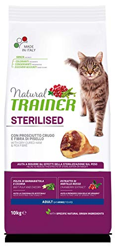 Trainer Natural Sterilised Adult con Prosciutto Crudo e Fibra di Pisello 10 kg - 10000 Gr