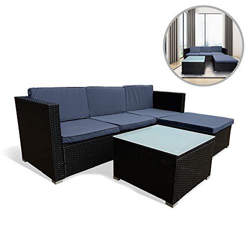 Poly Rattan Balkonmöbel Lounge Set - Mit Sofa, Eckstuhl,Hocker,Tisch und Anthrazit Sitzkissen ()