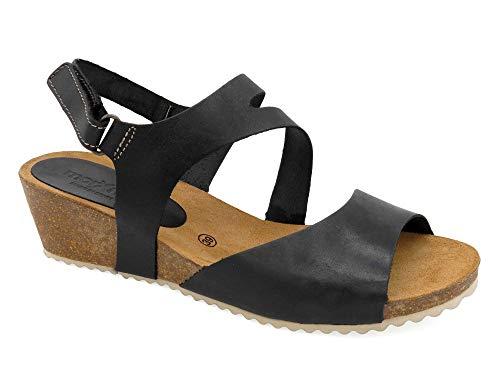 Morxiva - Made In Spain - Damen Echtleder Sandaletten mit Leder-Fußbett, Kork-Sohle und 5 cm Keilabsatz. Schöne und Bequeme Klettverschluss Absatz-Sandalen Sommerschuhe. 450 schwarz Gr. 38 -