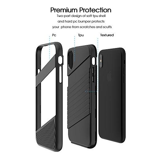Cover iPhone X, FugouSell Elegant Slim PC + TPU Ibrido Combo Double Full Body Protection Custodia [Antiurto Antiscivolo] [Original Design] 2 in 1 Liscio Bumper Case Telefono Shell (Blu) Nero