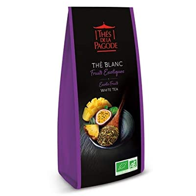 Thé blanc fruits exotiques bio par Thés de La pagode?Thé blanc Bai mu dan aux fruits exotiques - Sachet vrac 100 grammes?Thé en vrac Bio