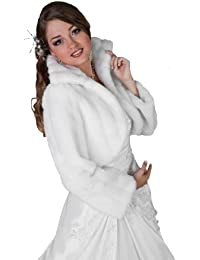 veste blanc ivoire noir femme pour marie fourrure de vison bolro cape avec col et manche - Bolro Mariage Ivoire
