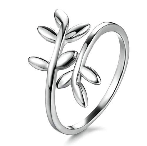 iszie Schmuck Sterling Silber Sweet Little Leaf Ring, verstellbar Ring, Midi, kleine offene Leaf Ring