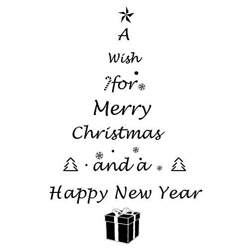 Kuuqa Schwarz PVC Weihnachten Weihnachtsbaum und Buchstaben Fenster Aufkleber Wandtattoos für Weihnachtsfeier (Dekorationen Gel Fenster)