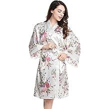 ArtiDeco Kimono Floral Bata Novia Kimono de Seda los Años 20 Ropa de Dormir Despedida de