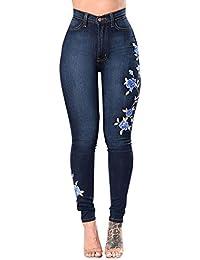 4a081a436 Flores De Bordado Denim Pantalones Vaqueros De Mujer Skinny Vaqueros  Elasticos