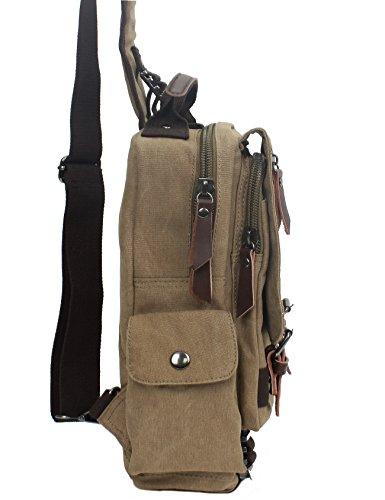 Leaper Vintage Canvas Rucksack Handtasche Schultasche für Outdoor Außflug Sport(XS,Armeegrün) Khaki(Klein)
