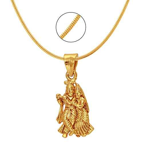 Mahi Exa Collection Radha Krishna Gold Plated Religious God Pendant for Men & Women PS6012024G