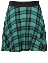 Womens Check Tartan Printed Ladies Contrast Elastic Waistband Stretch Short Mini Flared Skater Skirt