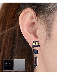 1fb449b102be Gudotra Pendientes de Joyería de Mujer Pendientes de Gato del Aretes  Dibujos Animados Retro