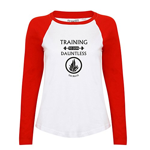 Brand88 - Training To Join Dauntless, Damen Langarm Baseball T-Shirt Weiss & Rot