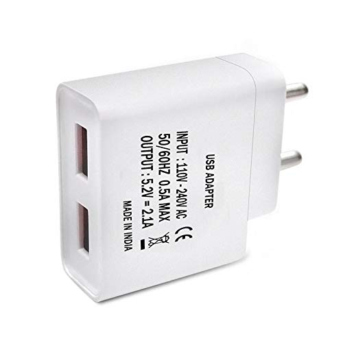 Shopmania 2.4 Amp Dual Port USB Travel Wall Charger Adapter|Fast Charger|Energy Adapter|Android & iOS Smartphone Charger Compatible with Samsung Galaxy C7 Free Micro USB Cable (White) Image 3