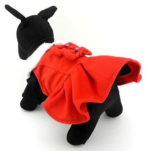 zunea Prinzessin Mädchen Kleine Pet Puppy Hund Katze aus Wolle Kleid Mantel Jacke Winter Warm Fleece-Kragen Herbst Frühjahr Chihuahua Pudel Kleidung Outfits (Pudel Outfits)